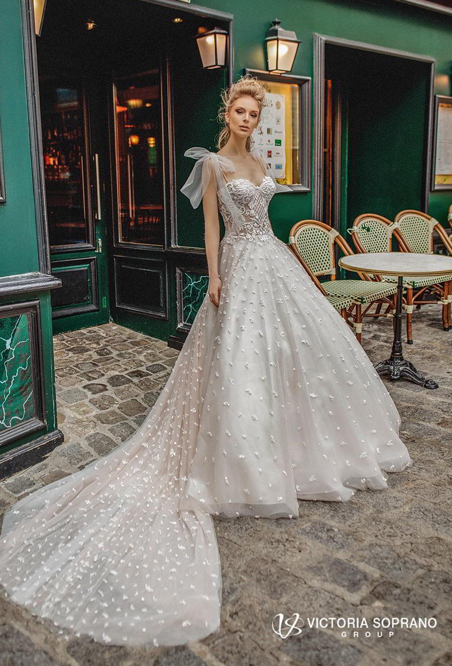 victoria soprano 2019 bridal detachable ribbon straps sweetheart neckline full embellishment romantic a  line wedding dress chapel train (silaine) mv