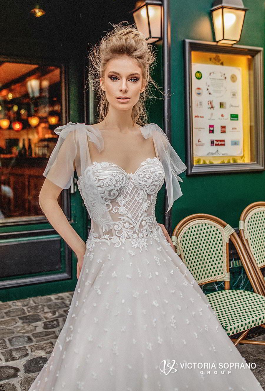 victoria soprano 2019 bridal detachable ribbon straps sweetheart neckline full embellishment romantic a  line wedding dress chapel train (silaine) zv