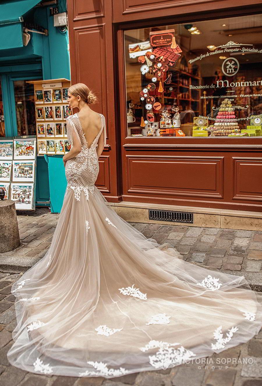 victoria soprano 2019 bridal half sleeves bateau neckline heavily embellished bodice elegant mermaid wedding dress open v back long train (jizel) bv