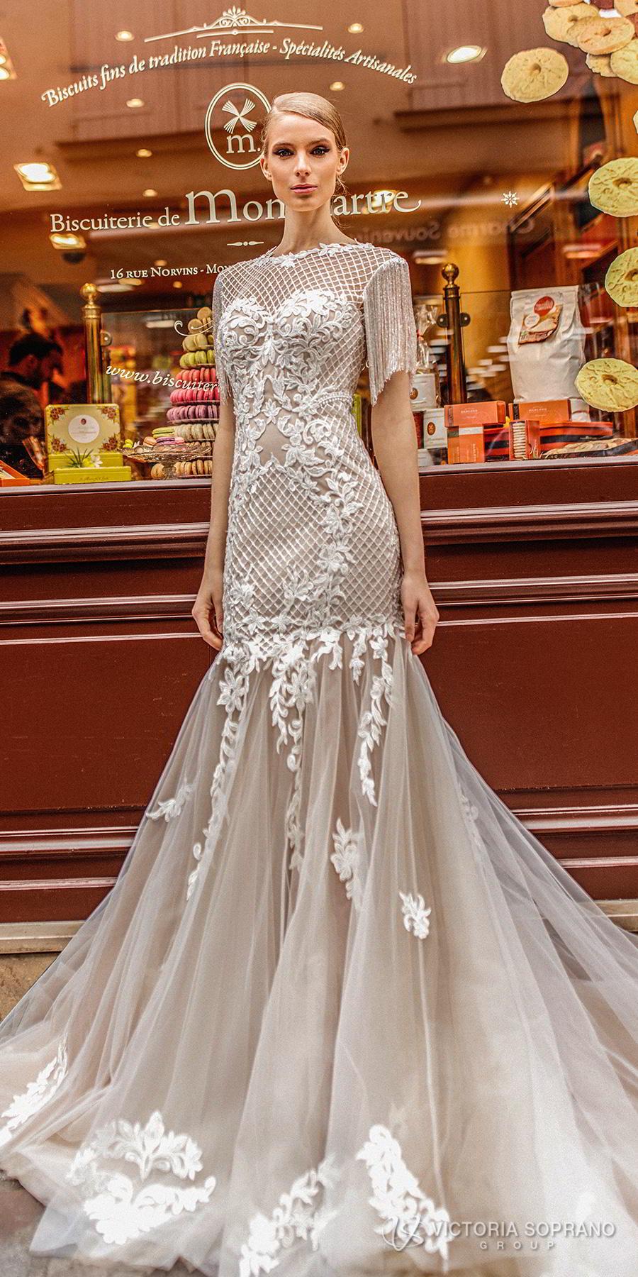 victoria soprano 2019 bridal half sleeves bateau neckline heavily embellished bodice elegant mermaid wedding dress open v back long train (jizel) lv
