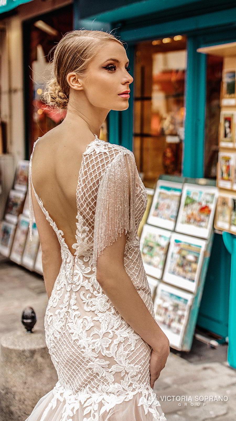 victoria soprano 2019 bridal half sleeves bateau neckline heavily embellished bodice elegant mermaid wedding dress open v back long train (jizel) zbv