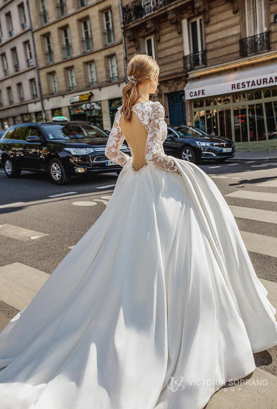 victoria soprano 2019 bridal long sleeves bateau neck heavily embellished bodice princess ball gown a  line wedding dress keyhole back chapel train (blansh) bv