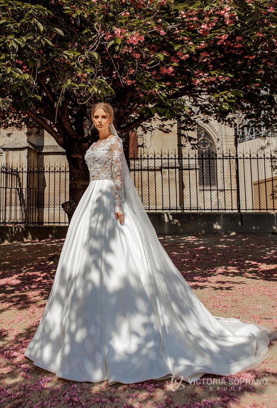 victoria soprano 2019 bridal long sleeves bateau neck heavily embellished bodice princess ball gown a  line wedding dress keyhole back chapel train (blansh) mv