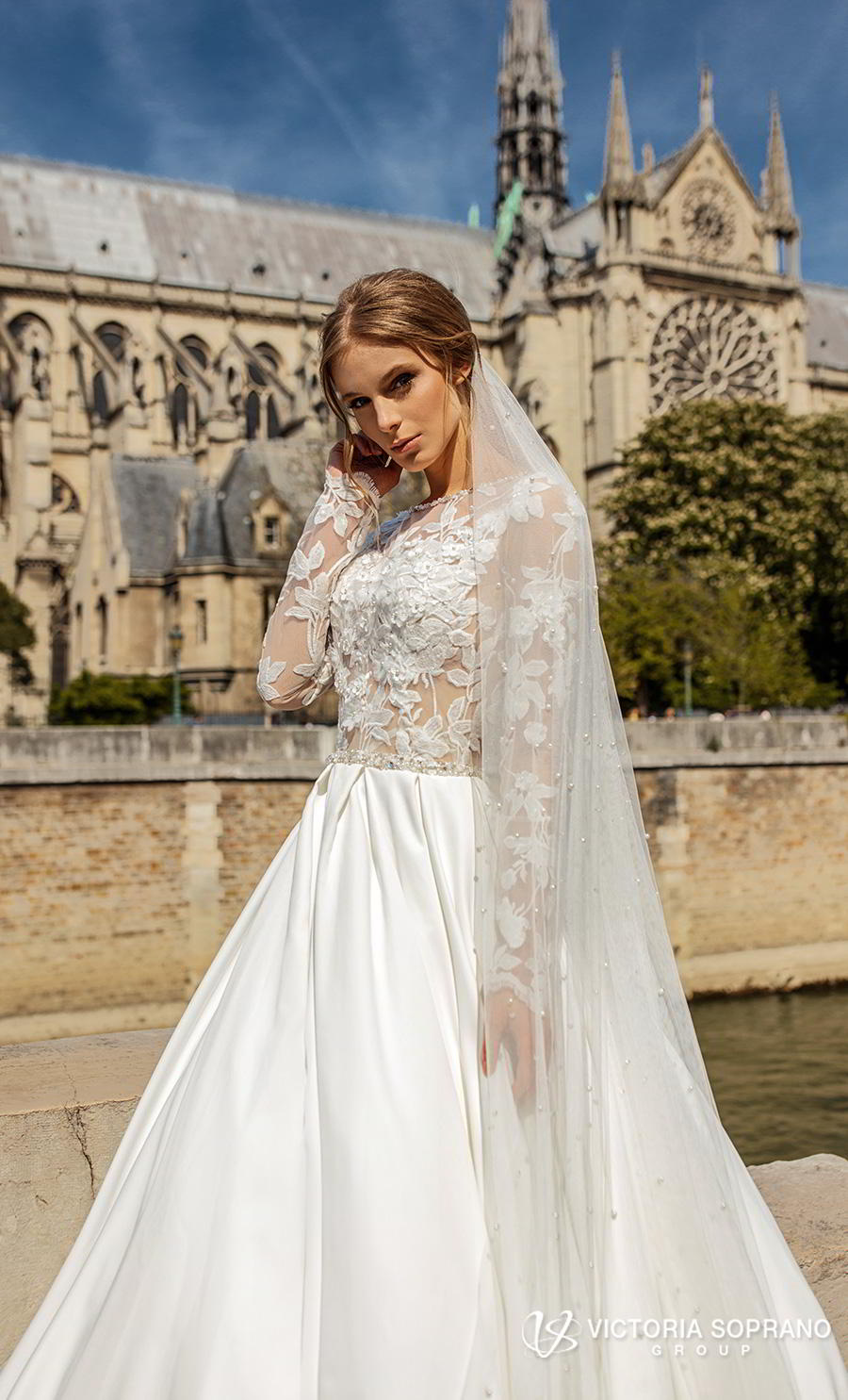 victoria soprano 2019 bridal long sleeves bateau neck heavily embellished bodice princess ball gown a  line wedding dress keyhole back chapel train (blansh) zv