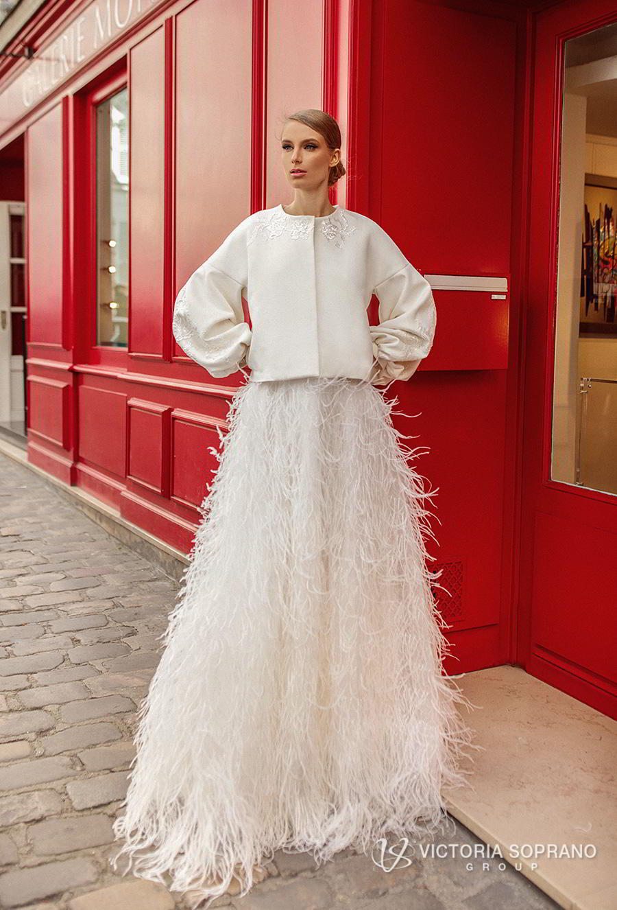 victoria soprano 2019 bridal long sleeves bateau neck jacket top 2 piece feathers skirt romantic a  line wedding dress sweep train (virgini) mv