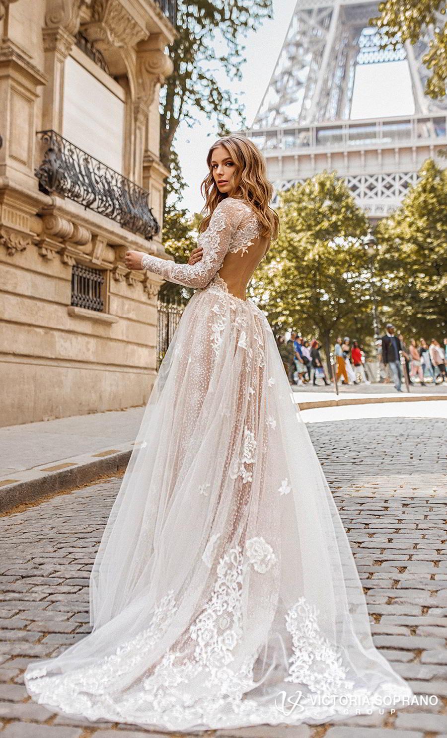 victoria soprano 2019 bridal long sleeves high neck heavily embellished bodice elegant princess a  line wedding dress open low back chapel train (dior) bv
