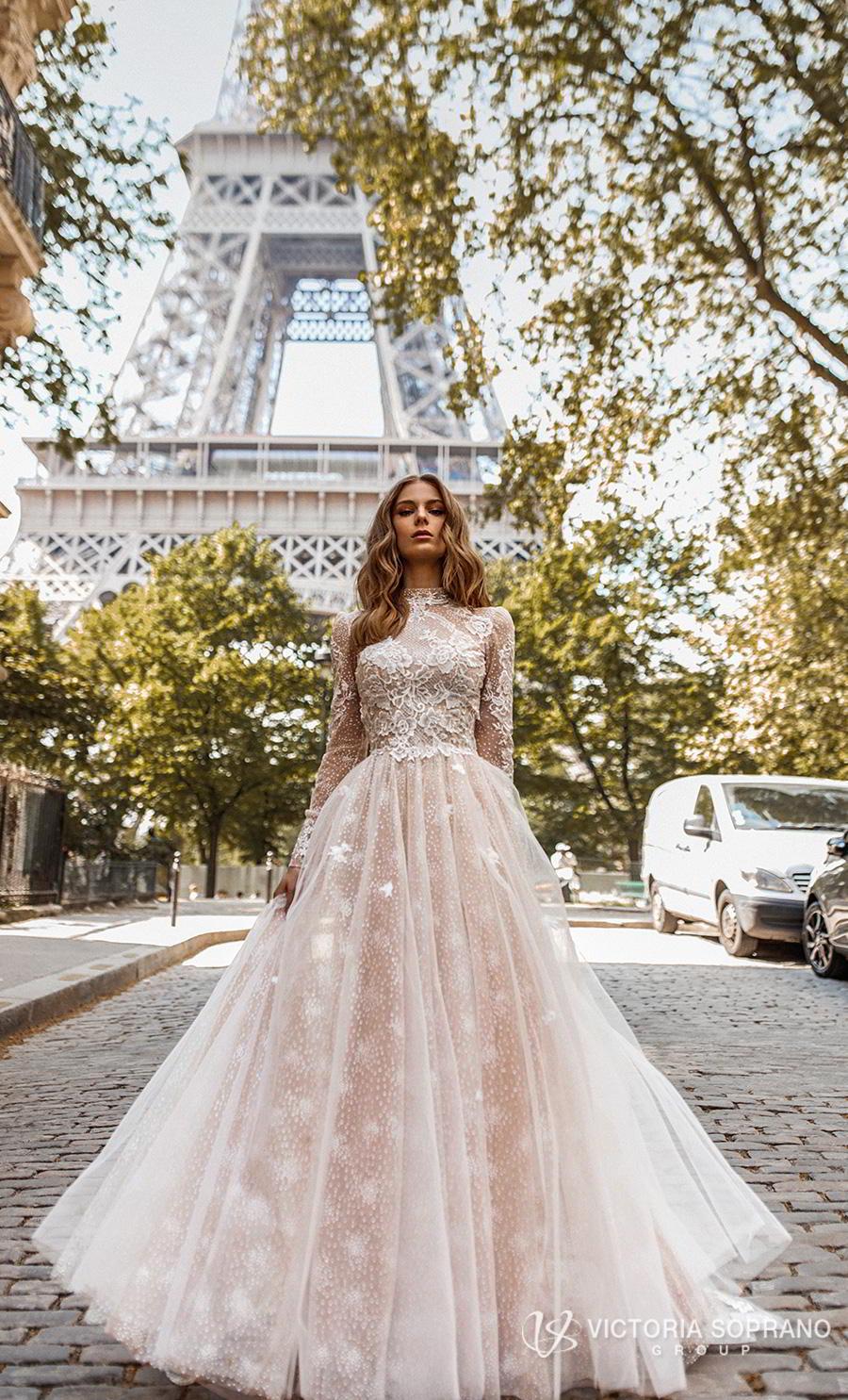 victoria soprano 2019 bridal long sleeves high neck heavily embellished bodice elegant princess a  line wedding dress open low back chapel train (dior) mv