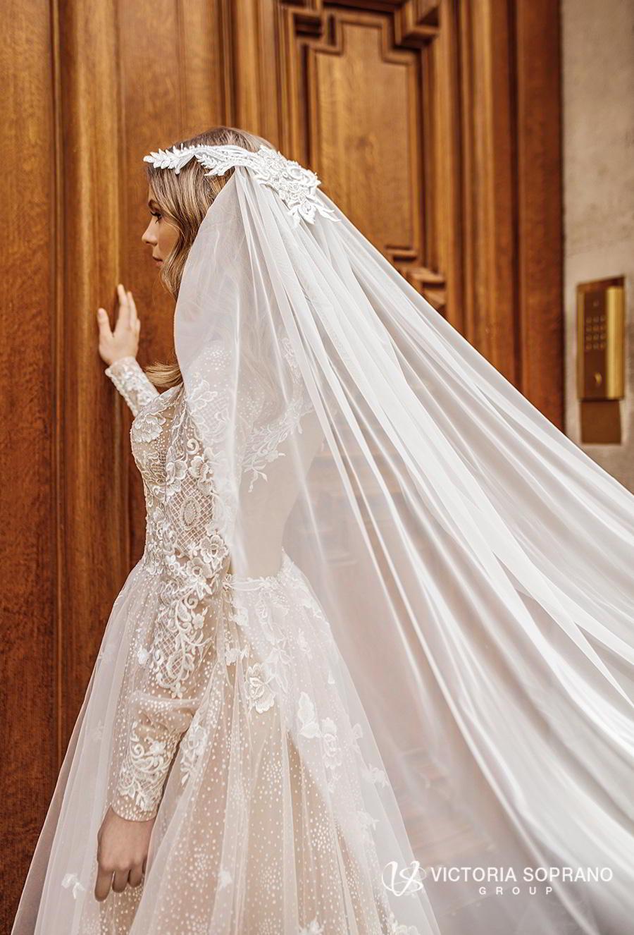 victoria soprano 2019 bridal long sleeves high neck heavily embellished bodice elegant princess a  line wedding dress open low back chapel train (dior) zbv