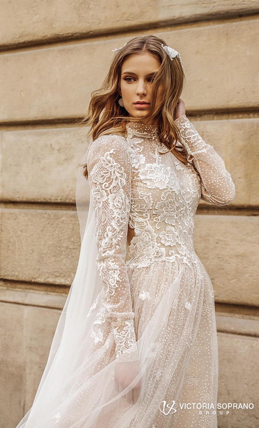 victoria soprano 2019 bridal long sleeves high neck heavily embellished bodice elegant princess a  line wedding dress open low back chapel train (dior) zv