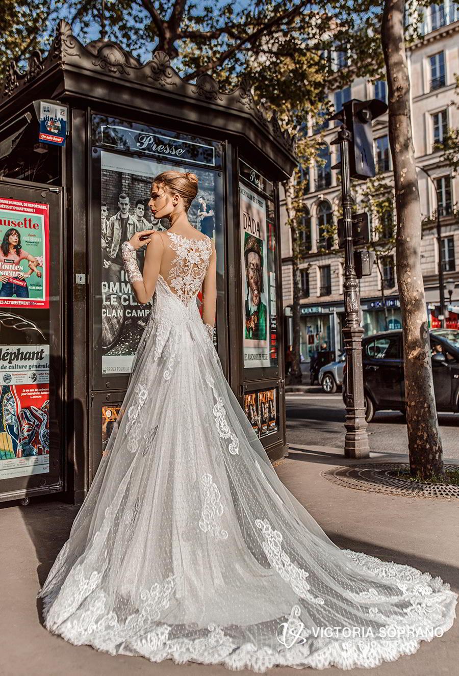 victoria soprano 2019 bridal long sleeves illusion bateau sweetheart neckline heavily embellished bodice princess a  line wedding dress lace back chapel train (margo) bv