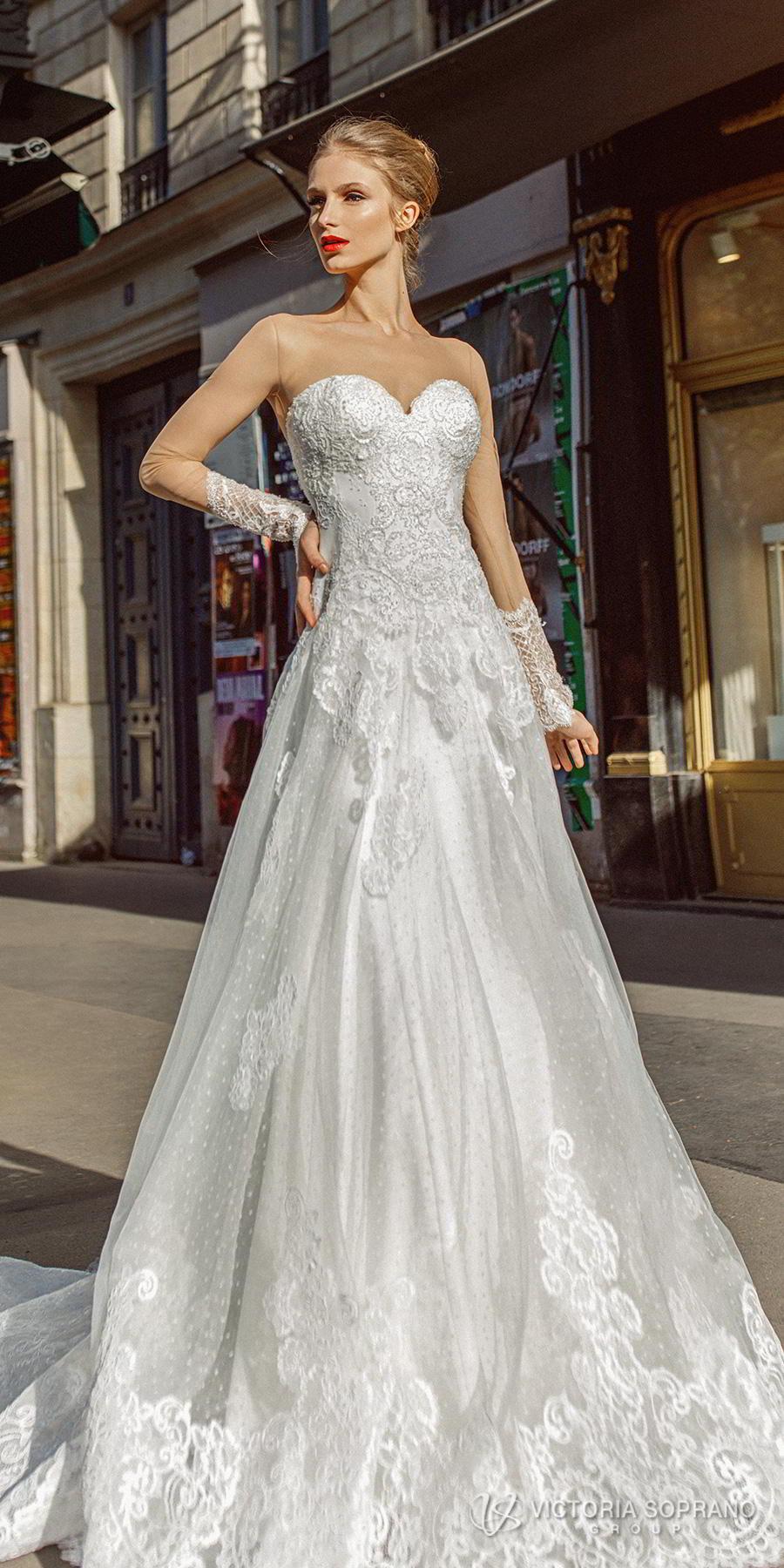 victoria soprano 2019 bridal long sleeves illusion bateau sweetheart neckline heavily embellished bodice princess a  line wedding dress lace back chapel train (margo) lv