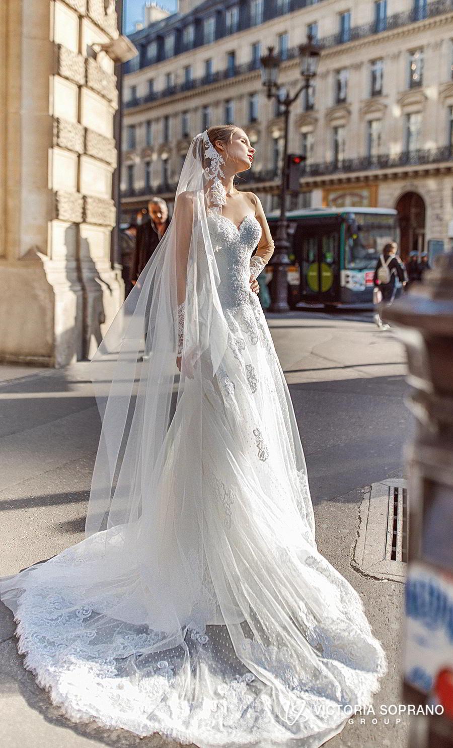victoria soprano 2019 bridal long sleeves illusion bateau sweetheart neckline heavily embellished bodice princess a  line wedding dress lace back chapel train (margo) mv