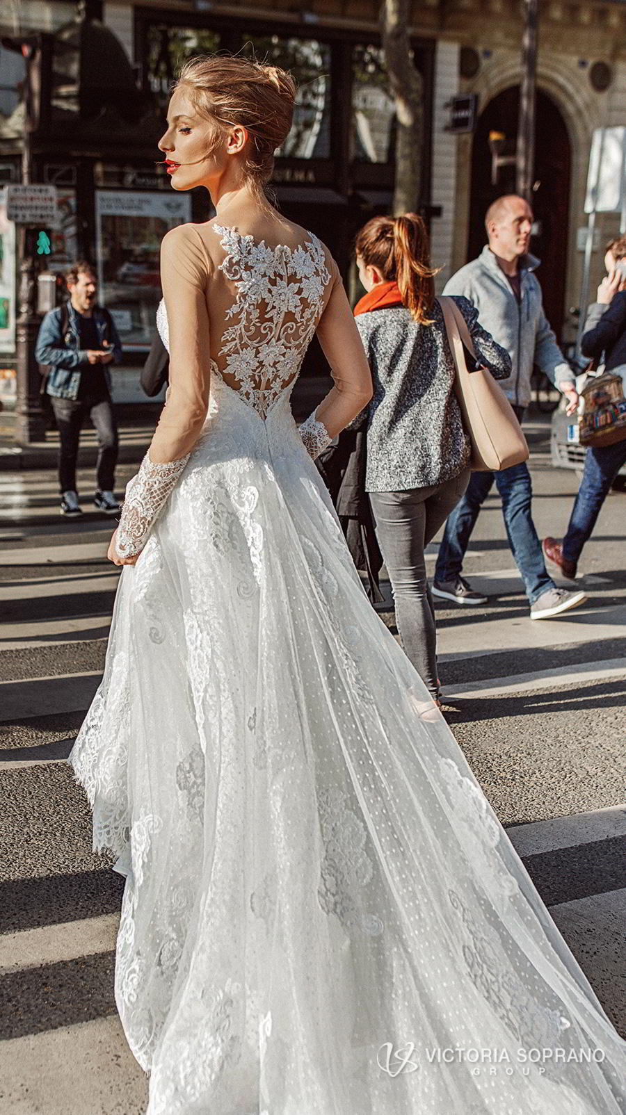 victoria soprano 2019 bridal long sleeves illusion bateau sweetheart neckline heavily embellished bodice princess a  line wedding dress lace back chapel train (margo) zbv