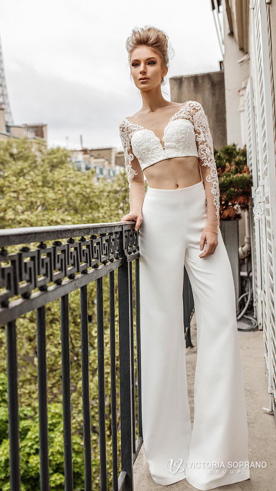victoria soprano 2019 bridal long sleeves v neck heavily embellised bodice crop top 2 piece pants wedding dress backless (monro) mv