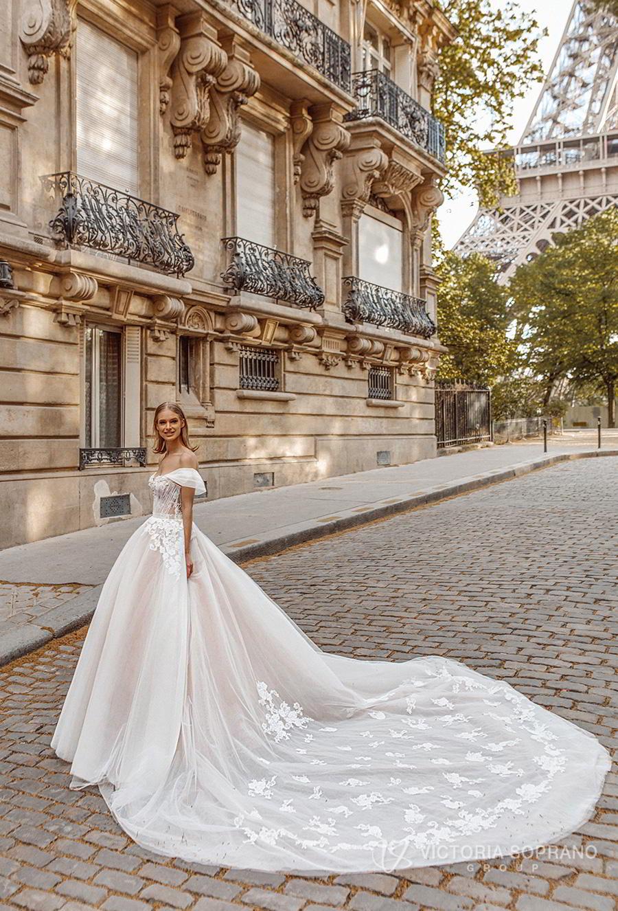 victoria soprano 2019 bridal off the shoulder sweetheart neckline heavily embellished bodice romantic princess a  line ball gown weddding dress royal train (manolo) mv