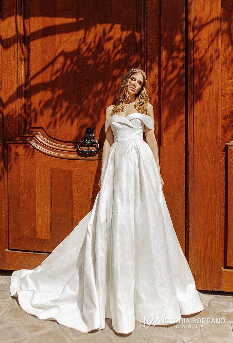 victoria soprano 2019 bridal off the shoulder sweetheart neckline simple romantic a  line wedding dress a  line overskirt chapel train (lulu) mv