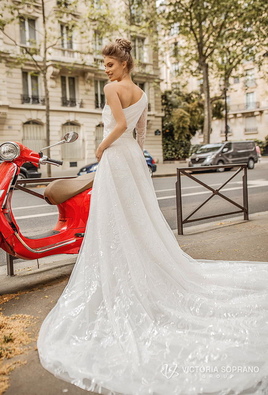 victoria soprano 2019 bridal one shoulder asymmetrical neckline simple light embellishment elegant a  line wedding dress chapel train (lilit) bv