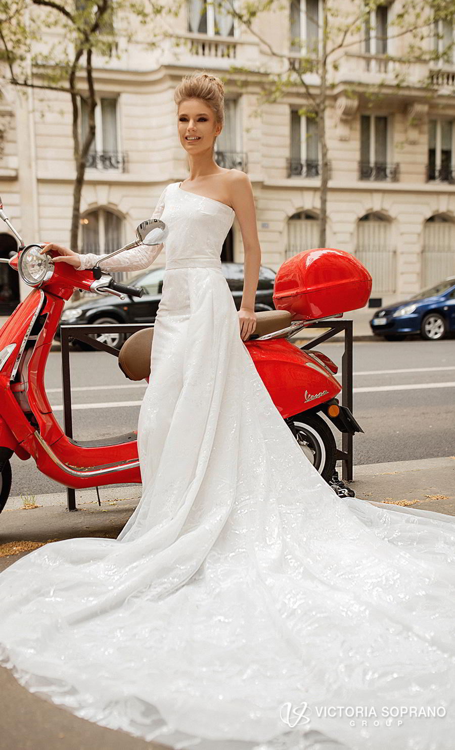 victoria soprano 2019 bridal one shoulder asymmetrical neckline simple light embellishment elegant a  line wedding dress chapel train (lilit) mv