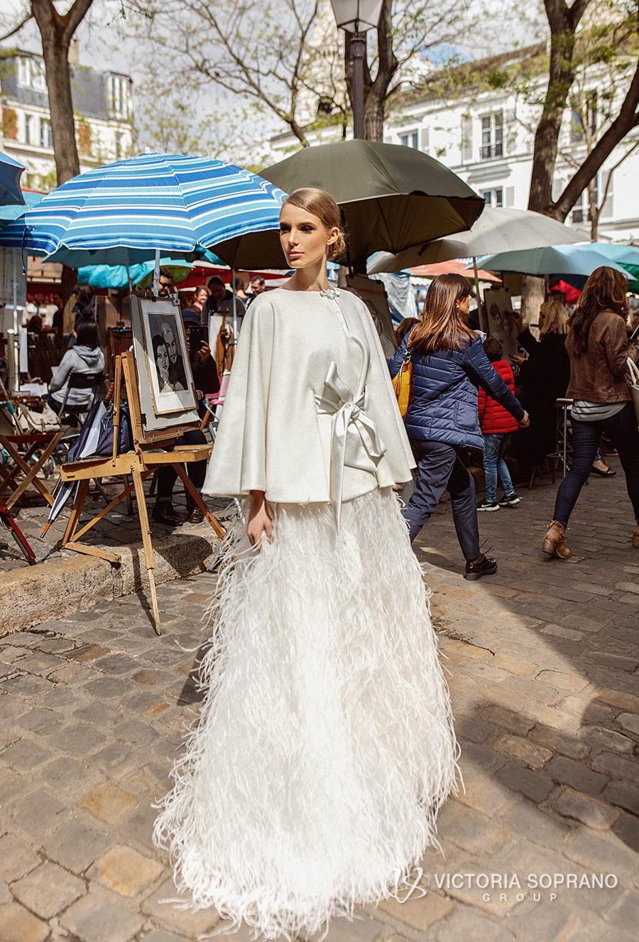 victoria soprano 2019 bridal sleeveless bateau neck cape top 2 piece feathers skirt romantic a  line wedding dress sweep train (virgini) mv