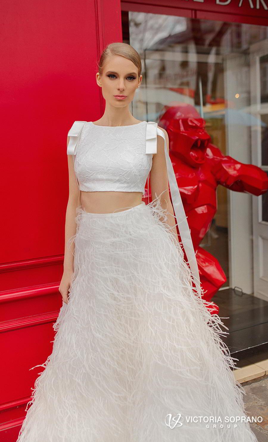 victoria soprano 2019 bridal sleeveless bateau neck heavy embellished bodice crop top 2 piece feathers skirt romantic a  line wedding dress sweep train (virgini) mv zv
