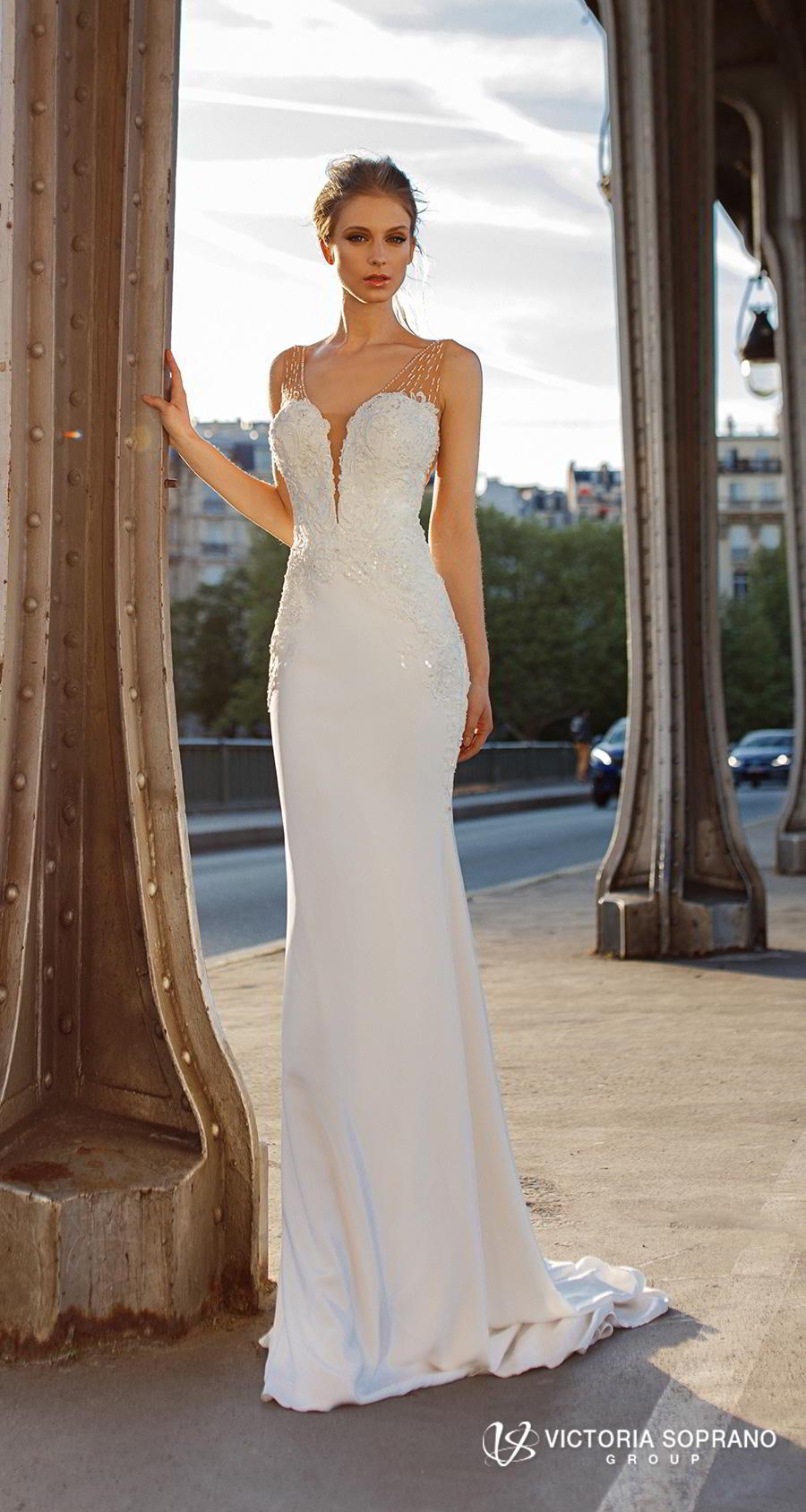 victoria soprano 2019 bridal sleeveless deep plunging v neck heavily embellished bodice elegant sheath wedding dress open v back short train (gustin) mv