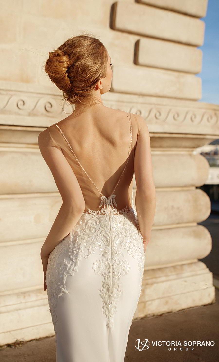 victoria soprano 2019 bridal sleeveless deep plunging v neck heavily embellished bodice elegant sheath wedding dress open v back short train (gustin) zbv