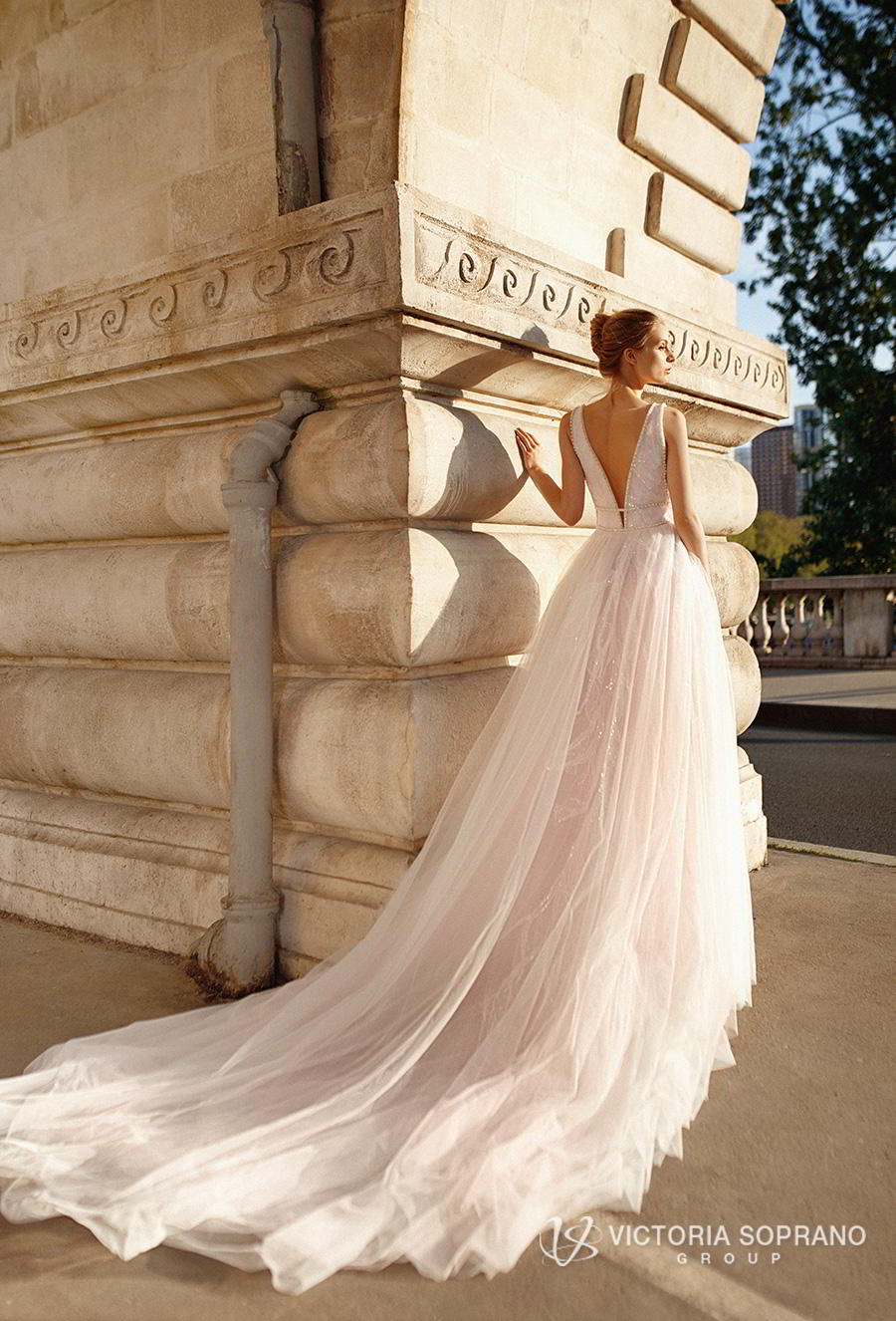 victoria soprano 2019 bridal sleeveless deep plunging v neck lightly embellished bodice tulle skirt romantic blush a  line wedding dress chapel train (avrille) bv