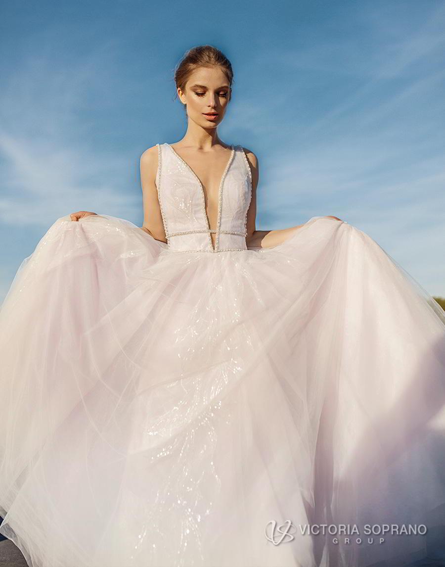 victoria soprano 2019 bridal sleeveless deep plunging v neck lightly embellished bodice tulle skirt romantic blush a  line wedding dress chapel train (avrille) mv