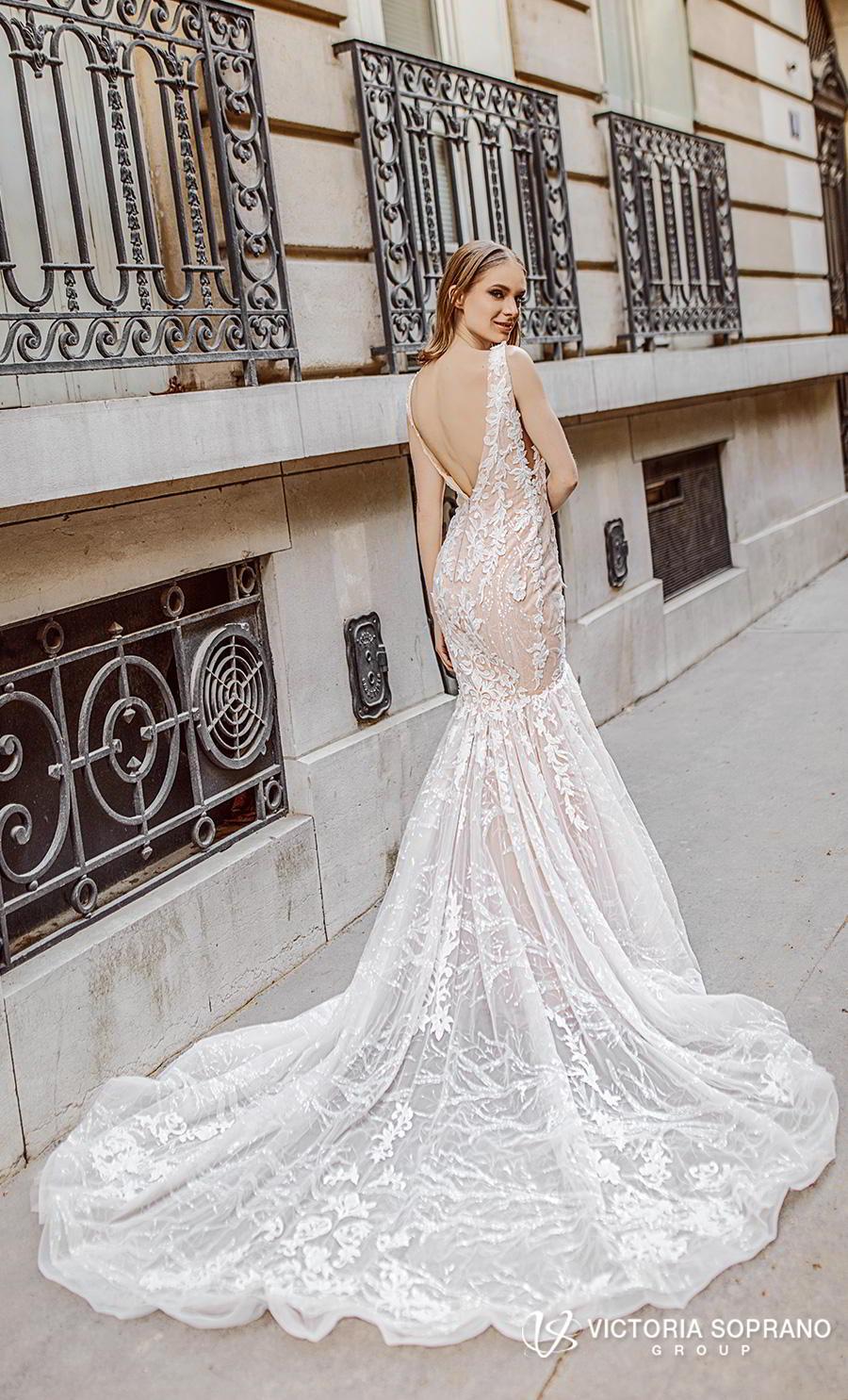 victoria soprano 2019 bridal sleeveless deep v neck full embellishment elegant romantic mermaid wedding dress open v back chapel train (stefany) bv
