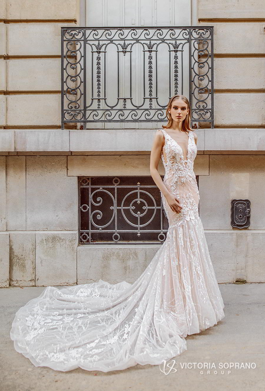 victoria soprano 2019 bridal sleeveless deep v neck full embellishment elegant romantic mermaid wedding dress open v back chapel train (stefany) mv
