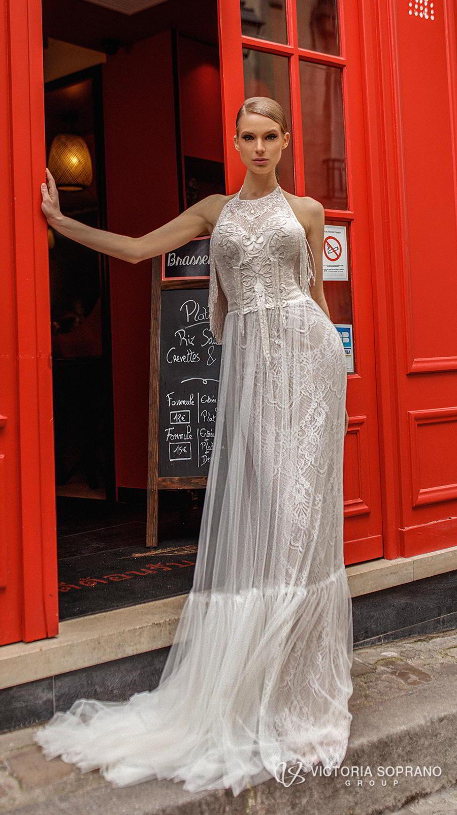 victoria soprano 2019 bridal sleeveless halter neck full embellishment elegant sheath wedding dress a  line overskirt backless chapel train (flavi) mv
