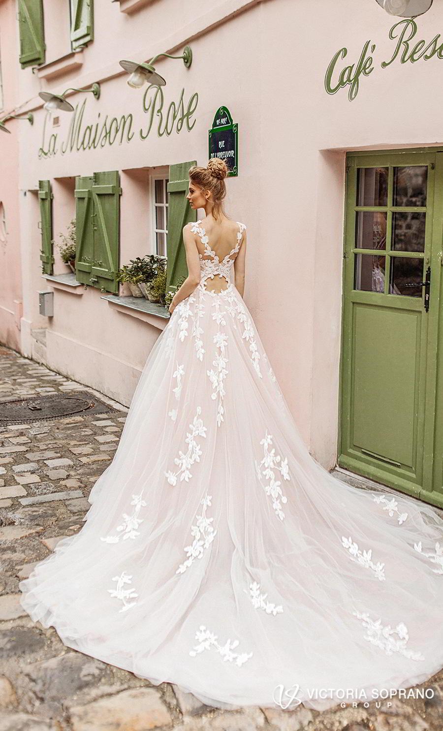 victoria soprano 2019 bridal sleeveless illusion bateau sweetheart neckline heavily embellished bodice romantic blush a  line wedding dress v back chapel train (bloom) bv