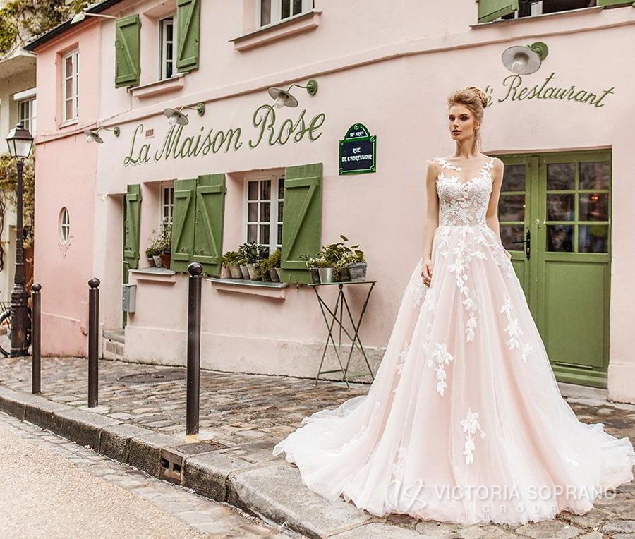 victoria soprano 2019 bridal sleeveless illusion bateau sweetheart neckline heavily embellished bodice romantic blush a  line wedding dress v back chapel train (bloom) mv