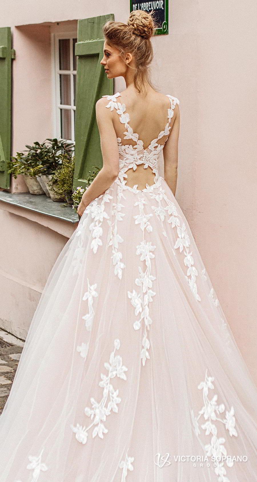 victoria soprano 2019 bridal sleeveless illusion bateau sweetheart neckline heavily embellished bodice romantic blush a  line wedding dress v back chapel train (bloom) zbv