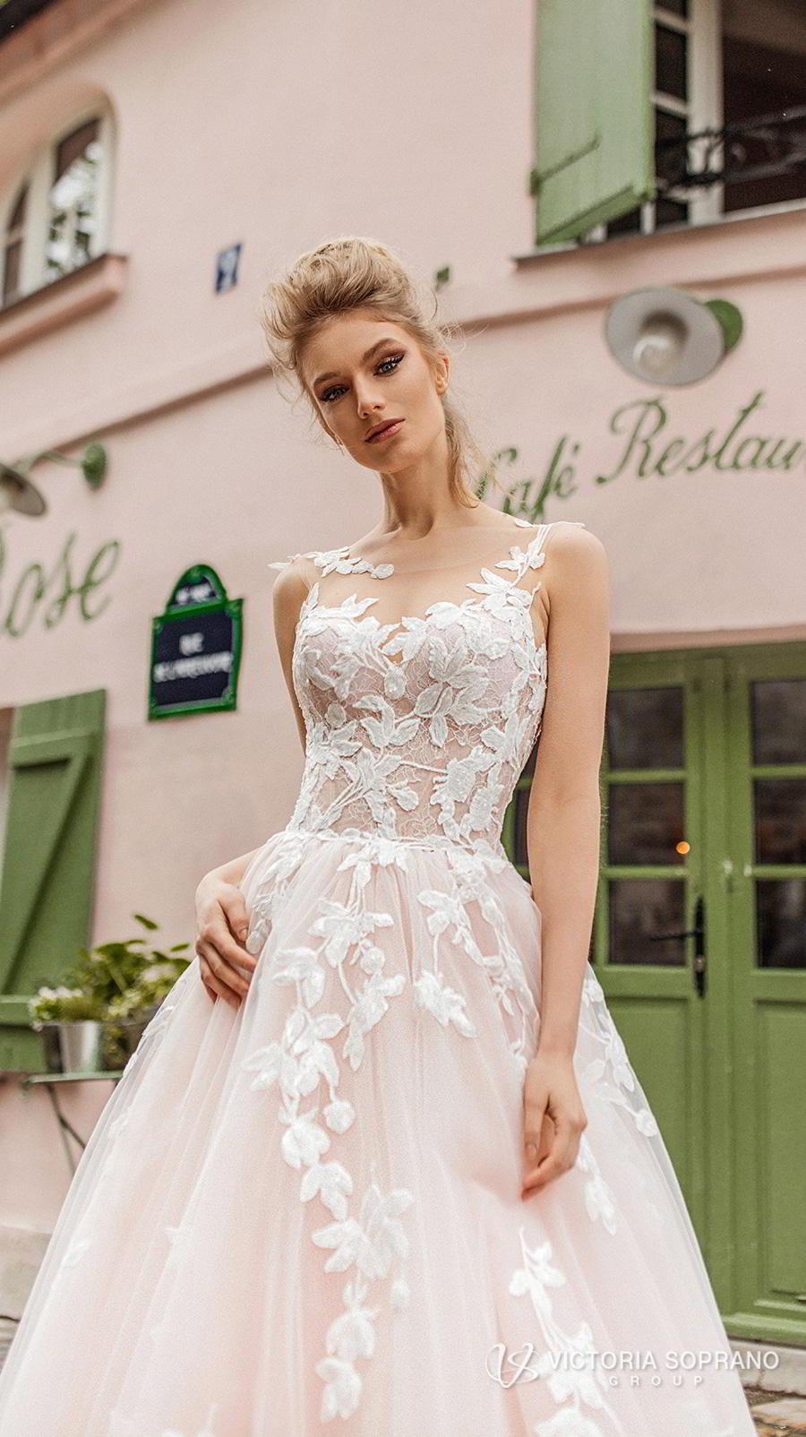 victoria soprano 2019 bridal sleeveless illusion bateau sweetheart neckline heavily embellished bodice romantic blush a  line wedding dress v back chapel train (bloom) zv