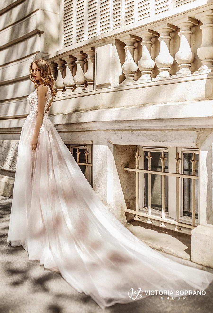 victoria soprano 2019 bridal sleeveless ribbon straps v neck heavily embellished bodice romantic soft a  line wedding dress keyhole back chapel train (fleur) bv