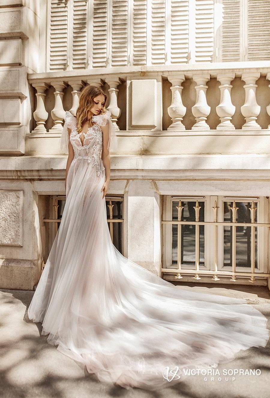 victoria soprano 2019 bridal sleeveless ribbon straps v neck heavily embellished bodice romantic soft a  line wedding dress keyhole back chapel train (fleur) mv