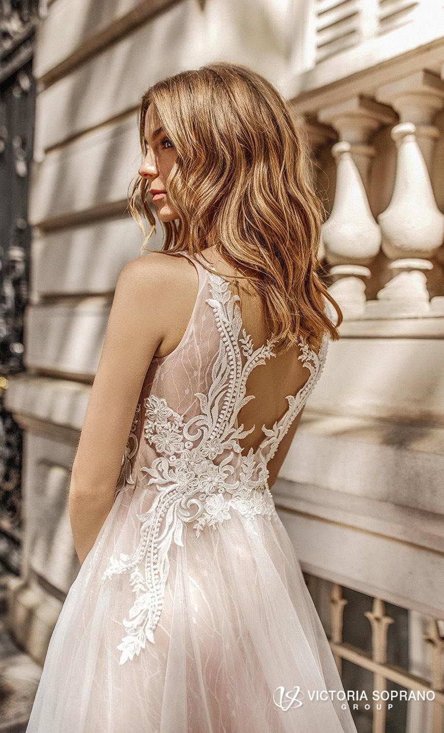 victoria soprano 2019 bridal sleeveless ribbon straps v neck heavily embellished bodice romantic soft a  line wedding dress keyhole back chapel train (fleur) zbv