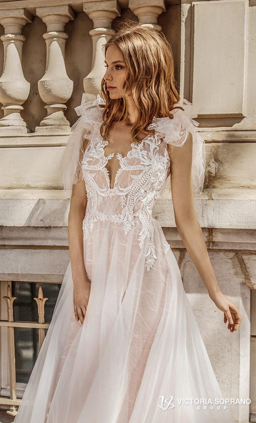 victoria soprano 2019 bridal sleeveless ribbon straps v neck heavily embellished bodice romantic soft a  line wedding dress keyhole back chapel train (fleur) zv