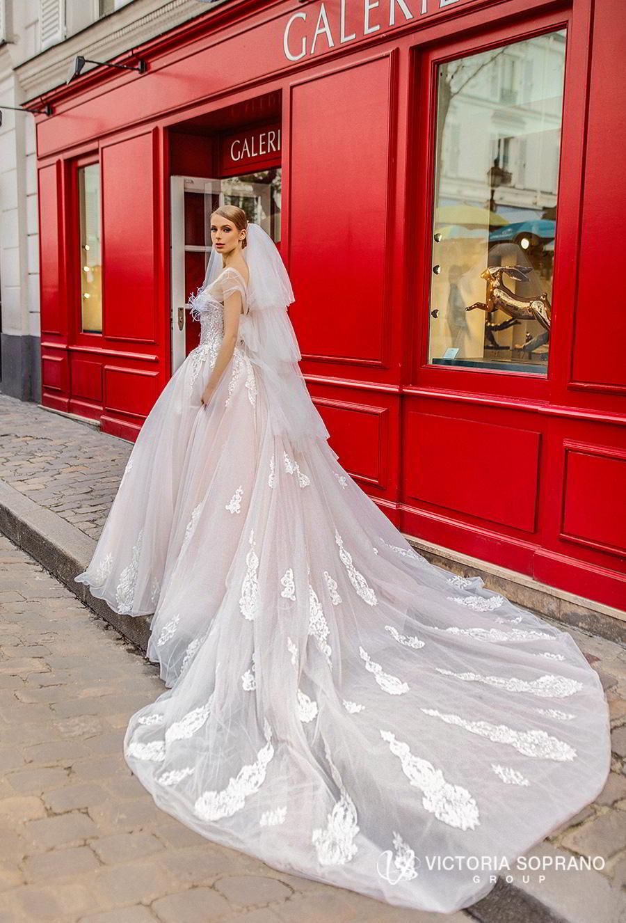 victoria soprano 2019 bridal sleeveless sheer strap sweetheart neckline heavily embellished bodice princess blush ball gown wedding dress royal train (jakline) bv