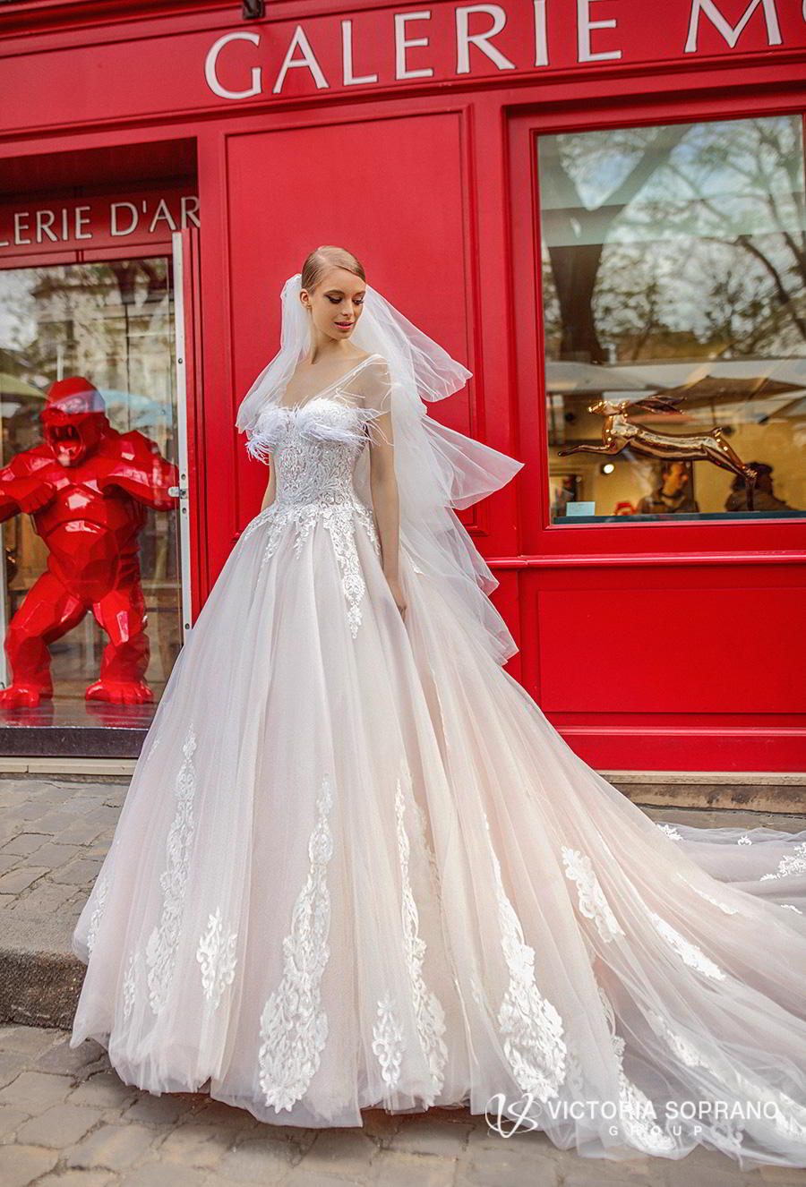 victoria soprano 2019 bridal sleeveless sheer strap sweetheart neckline heavily embellished bodice princess blush ball gown wedding dress royal train (jakline) mv