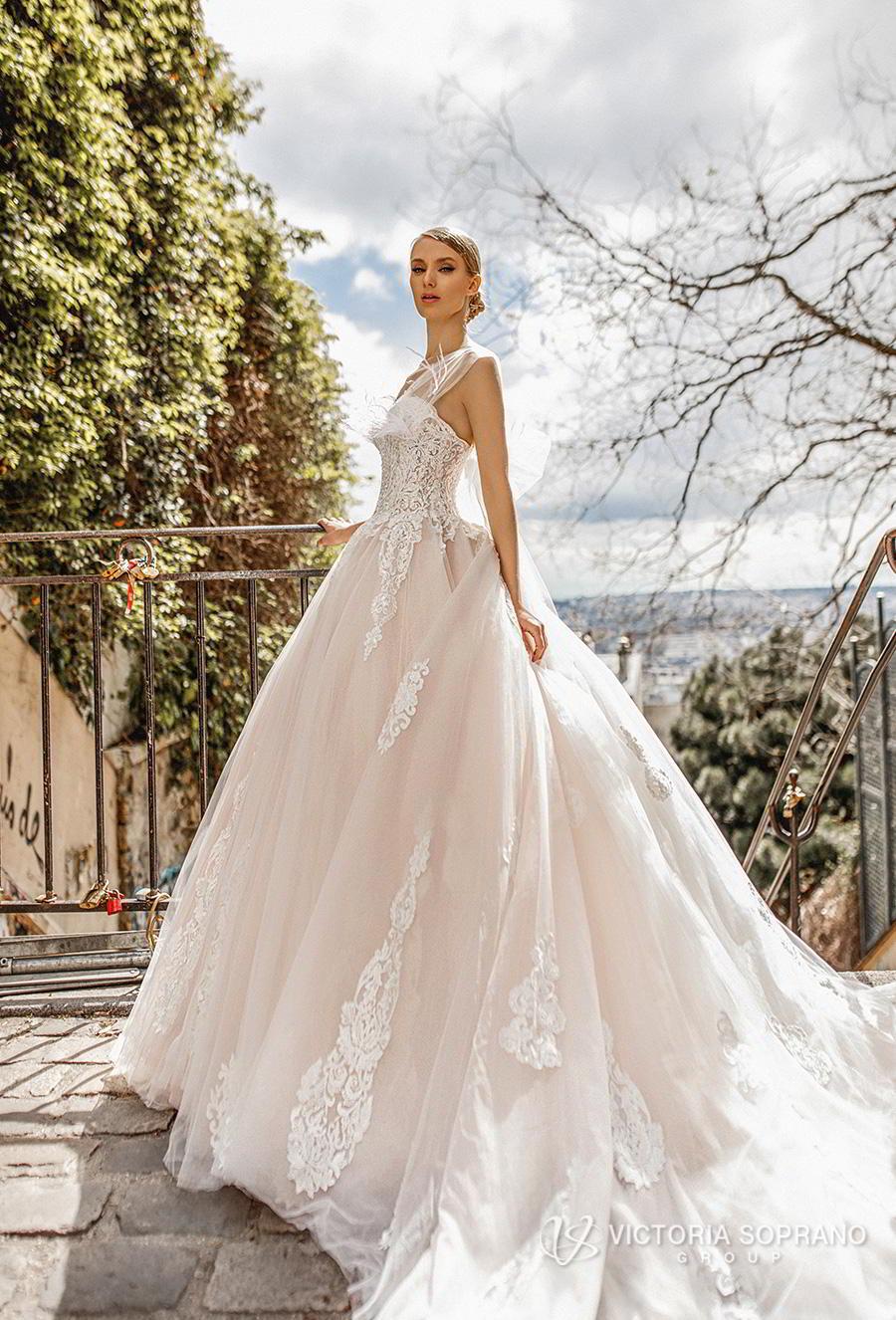 victoria soprano 2019 bridal sleeveless sheer strap sweetheart neckline heavily embellished bodice princess blush ball gown wedding dress royal train (jakline) sdv