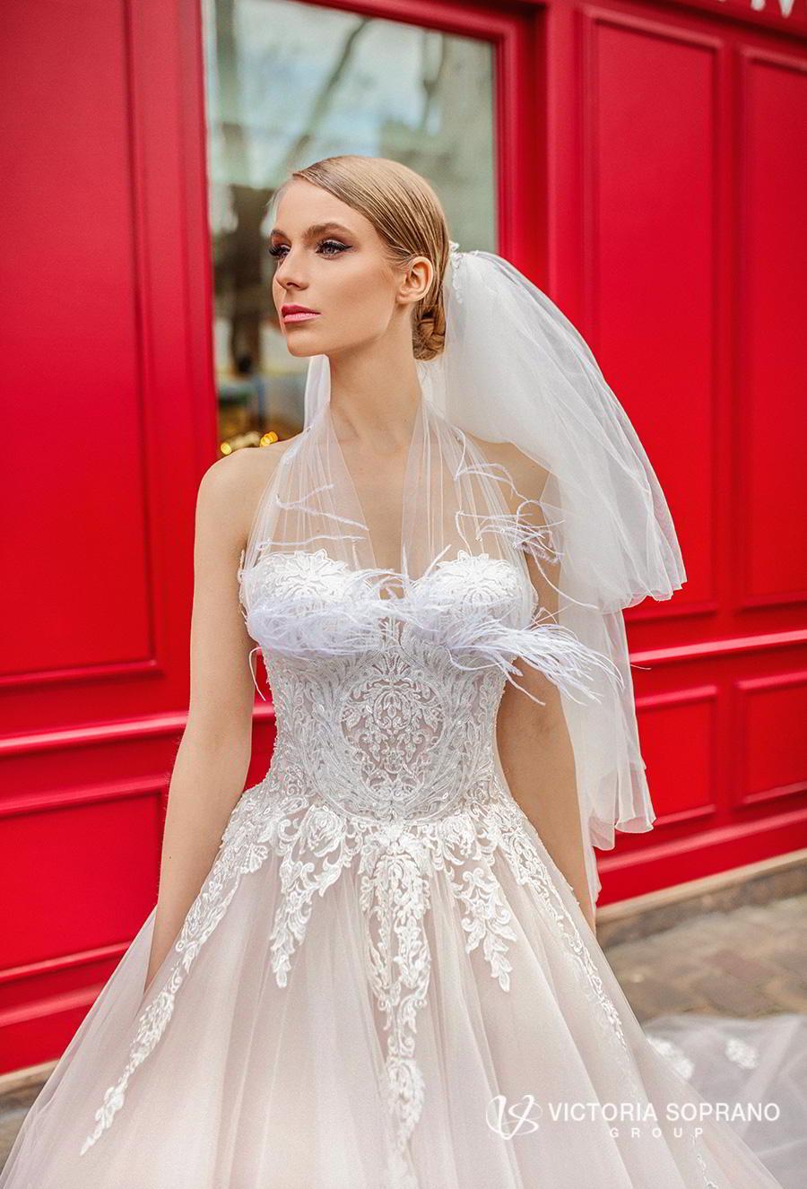 victoria soprano 2019 bridal sleeveless sheer strap sweetheart neckline heavily embellished bodice princess blush ball gown wedding dress royal train (jakline) zv