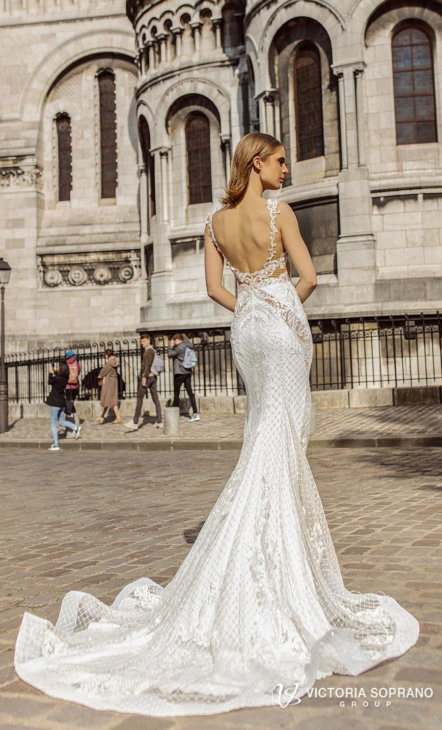 victoria soprano 2019 bridal sleeveless v neck elegant sheath wedding dress backless scoop back chapel train (anabel) bv