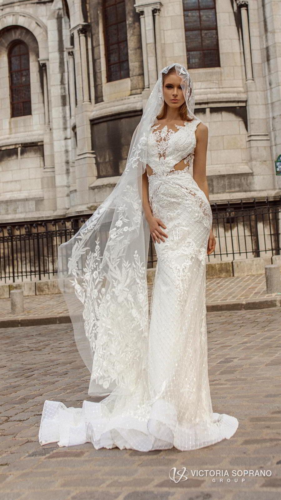 victoria soprano 2019 bridal sleeveless v neck elegant sheath wedding dress backless scoop back chapel train (anabel) mv