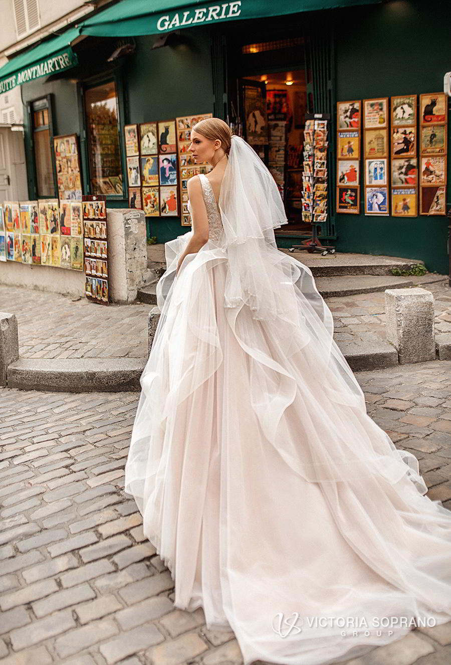 victoria soprano 2019 bridal sleeveless v neck heavily embellised bodice layered skirt romantic a  line wedding dress backless chapel train (elen) bv
