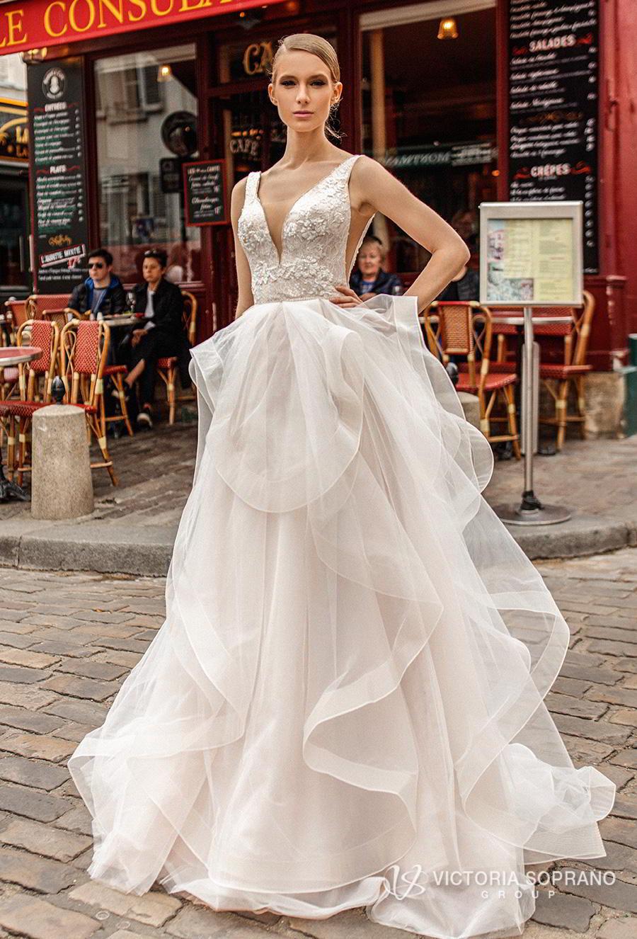 victoria soprano 2019 bridal sleeveless v neck heavily embellised bodice layered skirt romantic a  line wedding dress backless chapel train (elen) mv