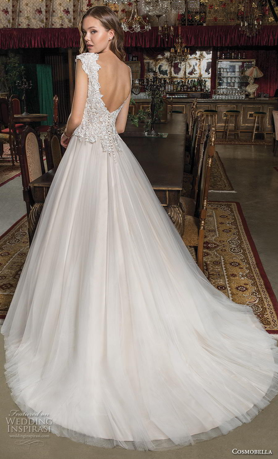 cosmobella 2019 bridal cap sleeves bateau neck heavily embellished bodice romantic modest a  line wedding dress scoop back chapel train (10) bv