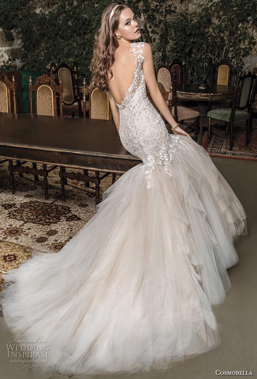 cosmobella 2019 bridal cap sleeves illusion bateau sweetheart neckline heavily embellished bodice elegant blush mermaid wedding dress backless scoop back chapel train (12) bv