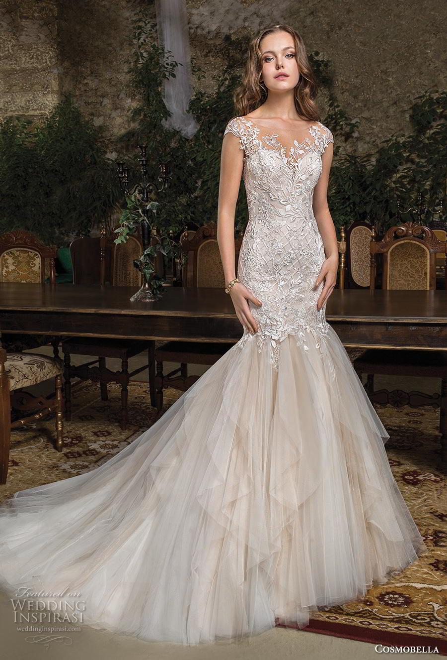 cosmobella 2019 bridal cap sleeves illusion bateau sweetheart neckline heavily embellished bodice elegant blush mermaid wedding dress backless scoop back chapel train (12) mv